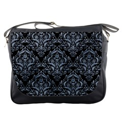 Damask1 Black Marble & Silver Paint (r) Messenger Bags by trendistuff