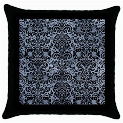 Damask2 Black Marble & Silver Paint Throw Pillow Case (black) by trendistuff