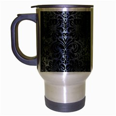 Damask2 Black Marble & Silver Paint Travel Mug (silver Gray) by trendistuff