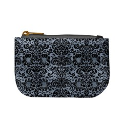 Damask2 Black Marble & Silver Paint Mini Coin Purses by trendistuff