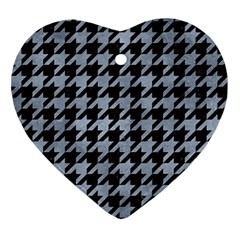 Houndstooth1 Black Marble & Silver Paint Ornament (heart) by trendistuff