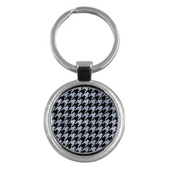 Houndstooth1 Black Marble & Silver Paint Key Chains (round)  by trendistuff