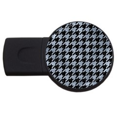 Houndstooth1 Black Marble & Silver Paint Usb Flash Drive Round (2 Gb) by trendistuff