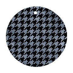 Houndstooth1 Black Marble & Silver Paint Round Ornament (two Sides) by trendistuff