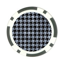 Houndstooth1 Black Marble & Silver Paint Poker Chip Card Guard (10 Pack) by trendistuff