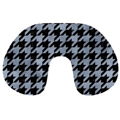 Houndstooth1 Black Marble & Silver Paint Travel Neck Pillows by trendistuff