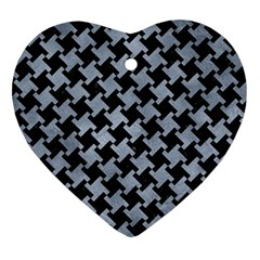 Houndstooth2 Black Marble & Silver Paint Heart Ornament (two Sides) by trendistuff