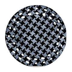 Houndstooth2 Black Marble & Silver Paint Ornament (round Filigree) by trendistuff