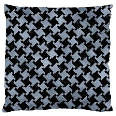 Houndstooth2 Black Marble & Silver Paint Large Cushion Case (two Sides) by trendistuff