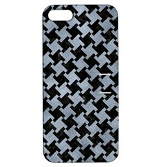 Houndstooth2 Black Marble & Silver Paint Apple Iphone 5 Hardshell Case With Stand by trendistuff