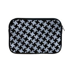 Houndstooth2 Black Marble & Silver Paint Apple Ipad Mini Zipper Cases by trendistuff