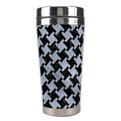 Houndstooth2 Black Marble & Silver Paint Stainless Steel Travel Tumblers by trendistuff