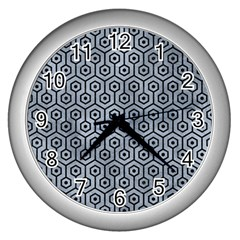 Hexagon1 Black Marble & Silver Paint Wall Clocks (silver)