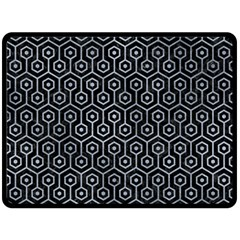 Hexagon1 Black Marble & Silver Paint (r) Double Sided Fleece Blanket (large)  by trendistuff