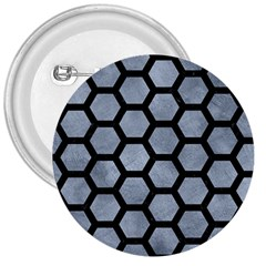 Hexagon2 Black Marble & Silver Paint 3  Buttons by trendistuff