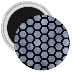 Hexagon2 Black Marble & Silver Paint 3  Magnets by trendistuff