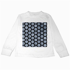 Hexagon2 Black Marble & Silver Paint Kids Long Sleeve T Shirts