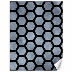 Hexagon2 Black Marble & Silver Paint Canvas 36  X 48   by trendistuff