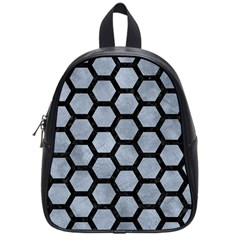 Hexagon2 Black Marble & Silver Paint School Bag (small) by trendistuff