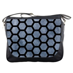 Hexagon2 Black Marble & Silver Paint Messenger Bags by trendistuff