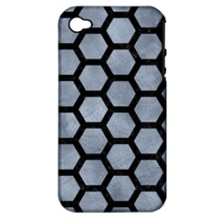 Hexagon2 Black Marble & Silver Paint Apple Iphone 4/4s Hardshell Case (pc+silicone) by trendistuff