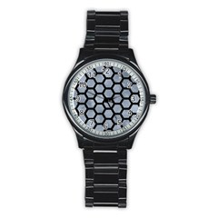 Hexagon2 Black Marble & Silver Paint Stainless Steel Round Watch by trendistuff
