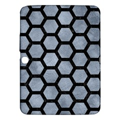 Hexagon2 Black Marble & Silver Paint Samsung Galaxy Tab 3 (10 1 ) P5200 Hardshell Case  by trendistuff