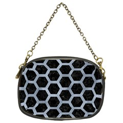 Hexagon2 Black Marble & Silver Paint (r) Chain Purses (one Side)  by trendistuff