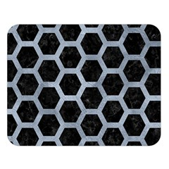 Hexagon2 Black Marble & Silver Paint (r) Double Sided Flano Blanket (large)  by trendistuff