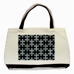 Puzzle1 Black Marble & Silver Paint Basic Tote Bag (two Sides) by trendistuff