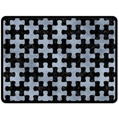 Puzzle1 Black Marble & Silver Paint Fleece Blanket (large)  by trendistuff