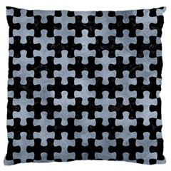 Puzzle1 Black Marble & Silver Paint Standard Flano Cushion Case (one Side) by trendistuff