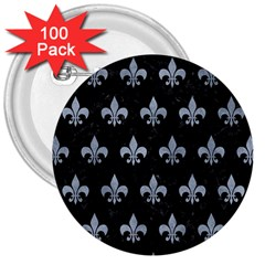 Royal1 Black Marble & Silver Paint 3  Buttons (100 Pack)  by trendistuff