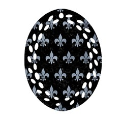 Royal1 Black Marble & Silver Paint Oval Filigree Ornament (two Sides) by trendistuff