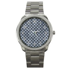 Scales1 Black Marble & Silver Paint Sport Metal Watch by trendistuff