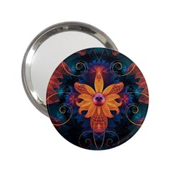 Beautiful Fiery Orange & Blue Fractal Orchid Flower 2 25  Handbag Mirrors by jayaprime