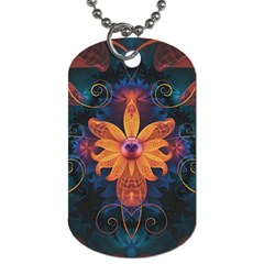 Beautiful Fiery Orange & Blue Fractal Orchid Flower Dog Tag (two Sides) by jayaprime