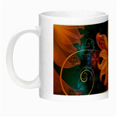 Beautiful Fiery Orange & Blue Fractal Orchid Flower Night Luminous Mugs by jayaprime