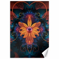 Beautiful Fiery Orange & Blue Fractal Orchid Flower Canvas 12  X 18   by jayaprime