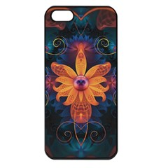 Beautiful Fiery Orange & Blue Fractal Orchid Flower Apple Iphone 5 Seamless Case (black) by jayaprime