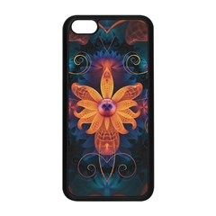Beautiful Fiery Orange & Blue Fractal Orchid Flower Apple Iphone 5c Seamless Case (black) by jayaprime
