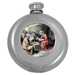 The birth of Christ Round Hip Flask (5 oz) Front