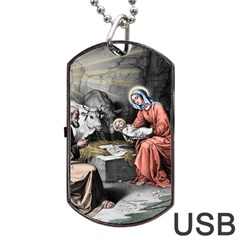 The Birth Of Christ Dog Tag Usb Flash (two Sides) by Valentinaart
