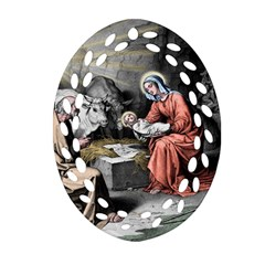 The Birth Of Christ Oval Filigree Ornament (two Sides) by Valentinaart