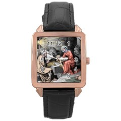 The Birth Of Christ Rose Gold Leather Watch  by Valentinaart
