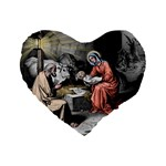 The birth of Christ Standard 16  Premium Flano Heart Shape Cushions Front