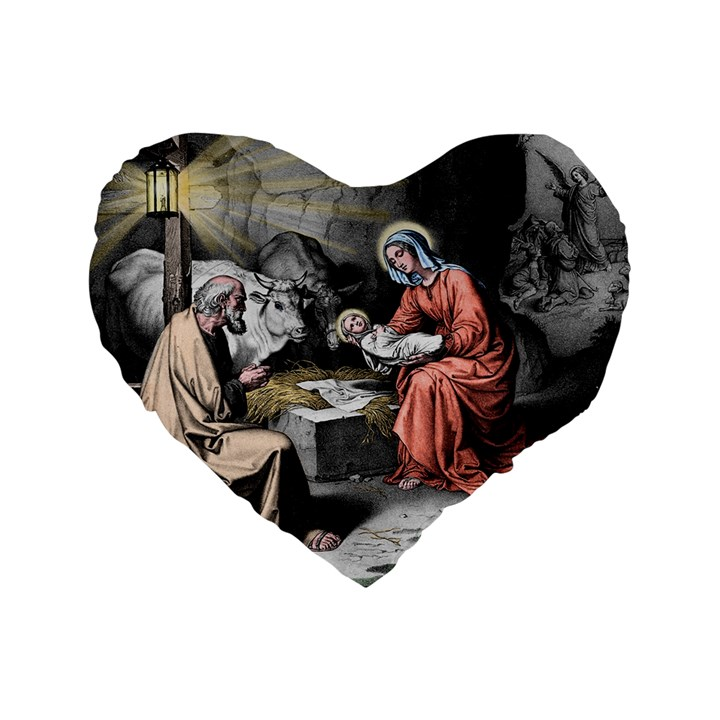 The birth of Christ Standard 16  Premium Flano Heart Shape Cushions