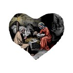 The birth of Christ Standard 16  Premium Flano Heart Shape Cushions Back