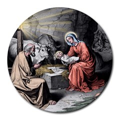The Birth Of Christ Round Mousepads by Valentinaart