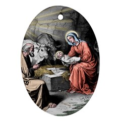 The Birth Of Christ Ornament (oval) by Valentinaart